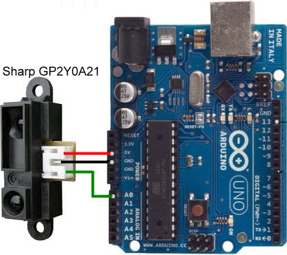 Connecting Sharp GP2Y0A21 sensor to Arduino