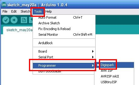 Arduino for Digispark Select Programmer
