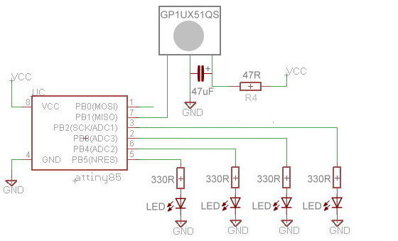 Schematic for 4 channel remote control