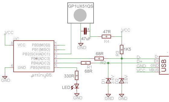 Schematic for Digispark infrared controller