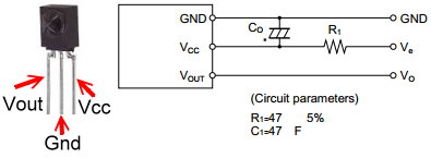Sharp GP1UX51QS IR detector connection diagram