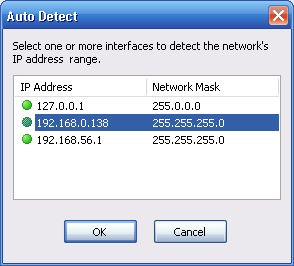 Network Scanner Select Network IP address